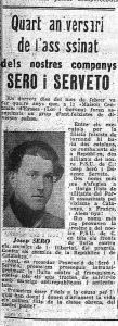 El periódico 'Lluita', órgano propagandístico del PSUC, publicaba en 1948 un recordatorio de Seró y Servetó con fotografía del primero. (AHN)