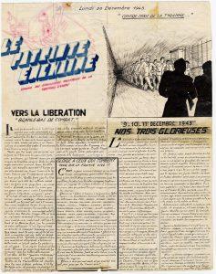 Portada del periódico clandestino manuscrito 'Le Patriote Echaîné' (publicada el 20 de diciembre de 1943), órgano de los presos políticos de Eysses. (Archivos FNDIRP)
